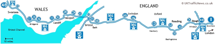 map of main M4 junctions